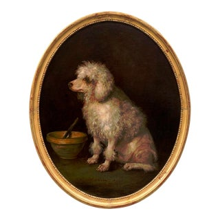 """""""Zoraida"""" Poodle Dog Painting Inscribed"""" Zoraida"""" Illegibly Signed Oil on Canvas Painting, Framed For Sale"""