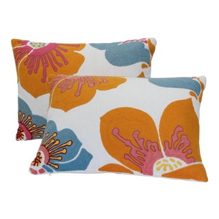 Contemporary Orange Abstract Floral Pillows - a Pair For Sale