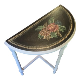 Floral Painted Demi-lune Hall Table For Sale