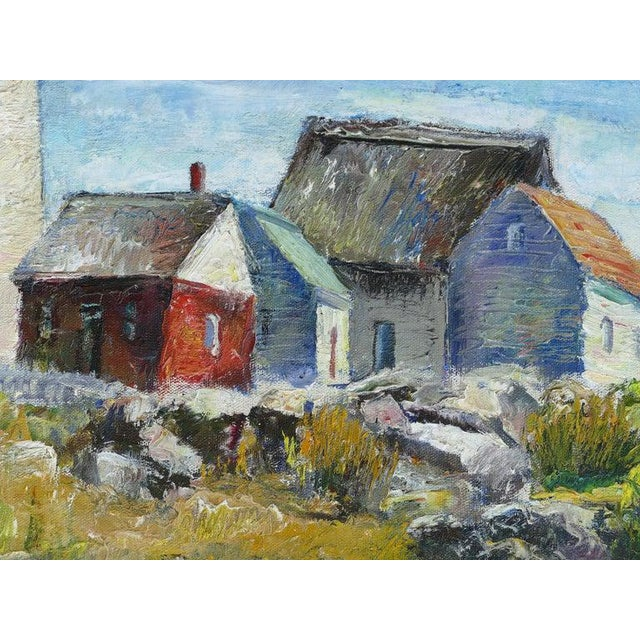 1930s Contemporary Samuel Brecher Oil Painting of Pemaquid Lighthouse E Boothbay, Me For Sale - Image 5 of 10