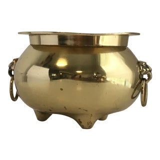 Vintage Brass With Lion Head Detail Planter For Sale