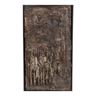 Handsome Brutalist Mid-century Cast Relief of Ceremonial Scene in Bronze Finish For Sale