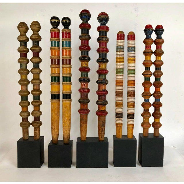 Antique and Vintage Colorful Croquet Posts in Custom Block Stands - Set of 10 - Image 2 of 11