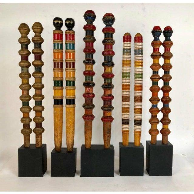 Vintage Croquet Posts in Custom Block Stands - Set of 10 - Image 2 of 11