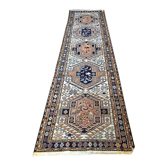 Ardibal, Iran. Long 1970s Vintage Hand-Knotted Persian Runner (2′6″ × 9′8″) For Sale