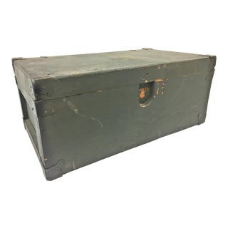 Vintage Industrial Military Wood Foot Locker Trunk For Sale
