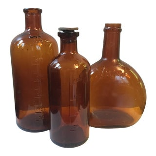 Vintage Glass Bottles - Set of 3 For Sale