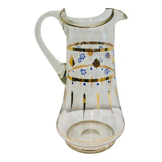 Antique Hand Painted & Hand Blown Glass Pitcher For Sale