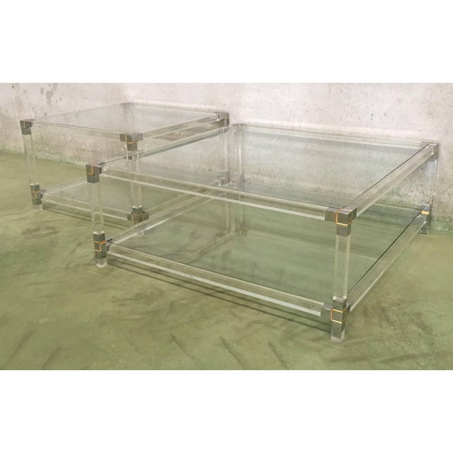 Metal Midcentury Square Lucite Coffee Table With Chromed Metal Details For Sale - Image 7 of 13
