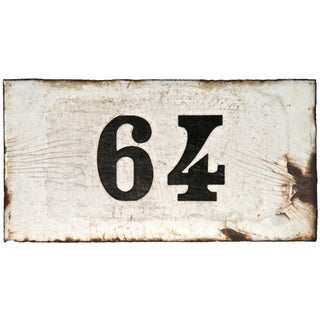 "French Porcelain Enamel House Number ""64"""