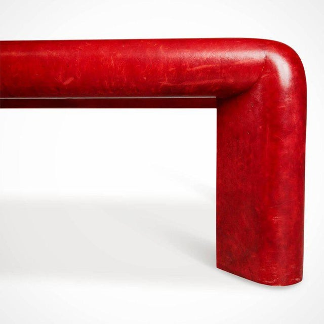 Red Karl Springer Signed Lipstick Red Leather and Brass Cocktail Table, Dated 1984 For Sale - Image 8 of 11