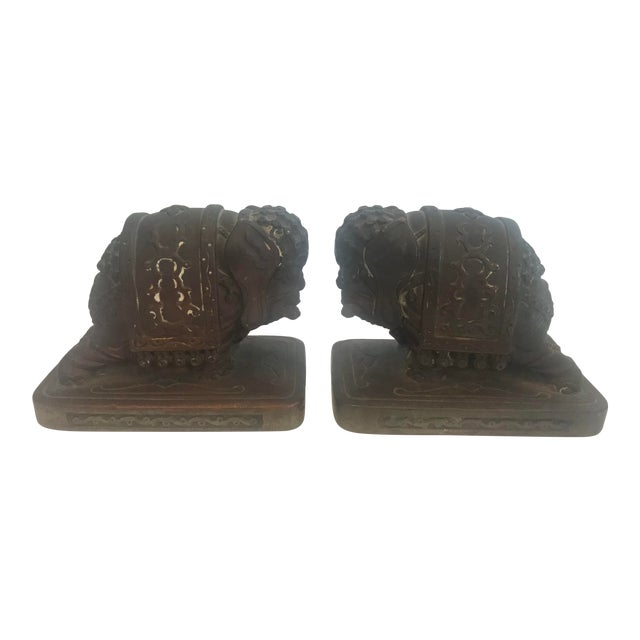 Armor Bronze Company 1920s Elephant Bookends - a Pair For Sale