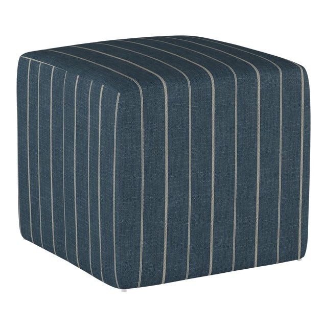Fabric Fritz Indigo Cube Ottoman For Sale - Image 7 of 7