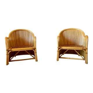 Vintage Rattan Barrel/Tub Chairs - A Pair For Sale