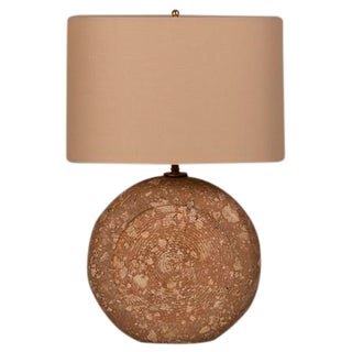 1950s Italian Solid Stone Etched Disc Lamp For Sale