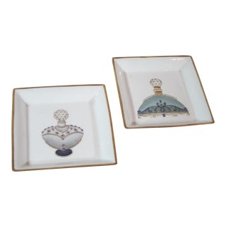 1970s Vintage Perfume Bottle Porcelain Trays - A Pair For Sale