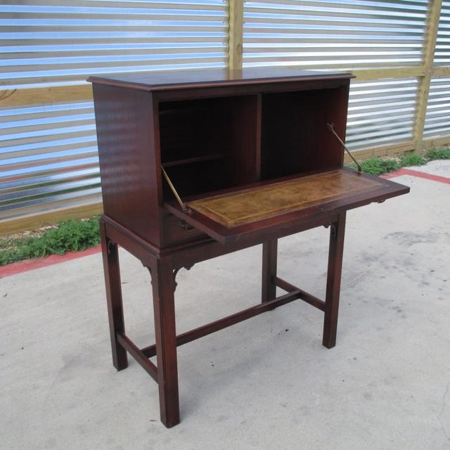 1900 - 1909 English Antique Drop Front Writing Desk For Sale - Image 5 of 8