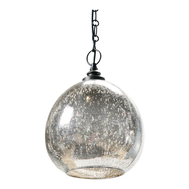 Glass Float Pendant in Antique Mercury For Sale