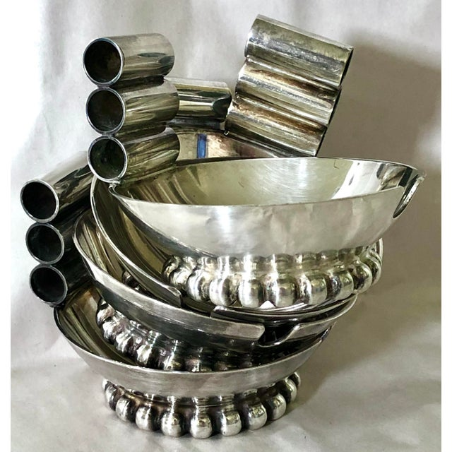 Mid-Century Modern Italian Silver Ashtrays - Set of 4 For Sale - Image 3 of 4