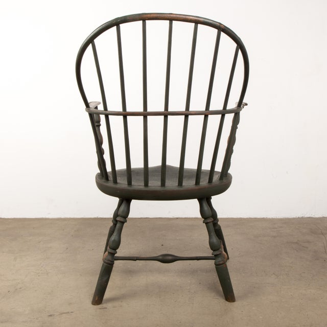 18th C. Peg Krupp Private Collection Windsor Chair #2 With Extended Arms For Sale - Image 4 of 12
