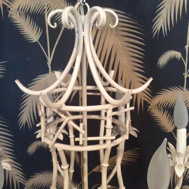 Vintage Faux Bamboo Metal Pagoda Chandelier For Sale - Image 4 of 9