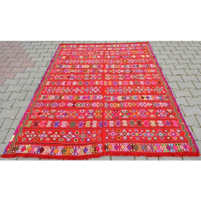 Modern Colorful Area Rug - 5′6″ × 6′12″ For Sale - Image 5 of 9