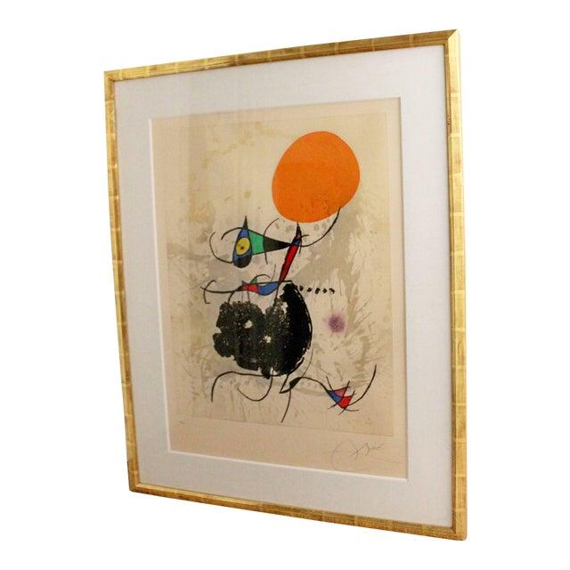 "1970s Color Etching Aquatint ""Miro Terre Atteinte Et Soleil"" by Joan Miro For Sale"