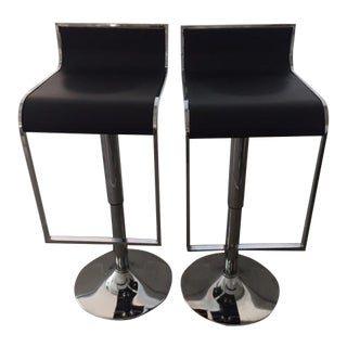 Black & Chrome Adjustable Height Swivel Counter Stools - a Pair
