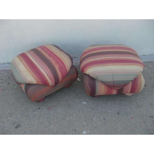 1980s 1980s Vintage Upholstered Poofs- A Pair For Sale - Image 5 of 13