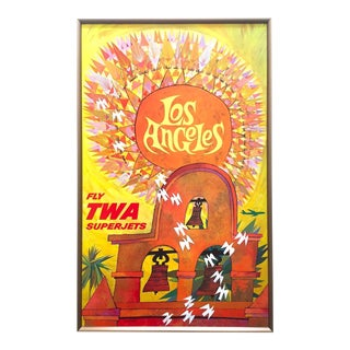 """David Klein Rare Vintage 1959 """" Los Angeles - Fly Twa Superjets """" Framed Lithograph Print Mid Century Modern Collector's Airline Travel Poster For Sale"""