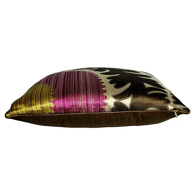 Donghia Silk & Velvet Suzani Accent Pillow - Image 3 of 3