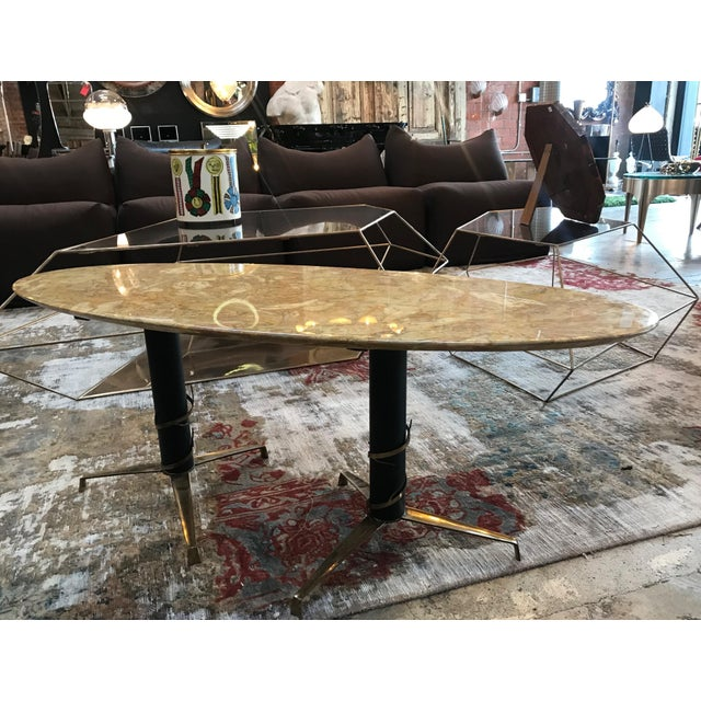 1950s Mid-Century Modern Italian Yellow Marble and Brass Oval Coffee Table For Sale - Image 4 of 10