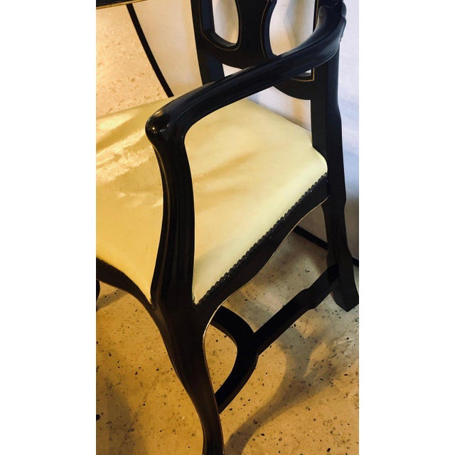 Set of Eight Queen Anne Ebonized and Gilt Decorated Dining Chairs For Sale - Image 10 of 13