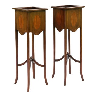 Antique English Mahogany Jardiniere Plant Stands