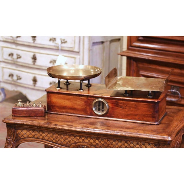 19th Century French Napoleon III Walnut and Brass Scale With Set of Weights For Sale - Image 12 of 12