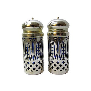 Silver & Cobalt Salt & Pepper Set For Sale