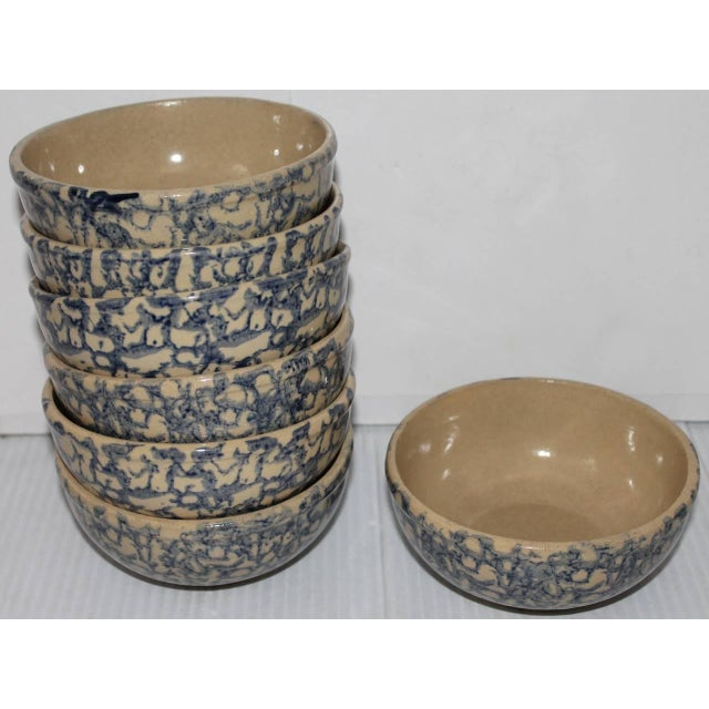 This set of seven rare spongeware cereal bowls comes out of a rare collection. This set of early 20th century cereal bowls...