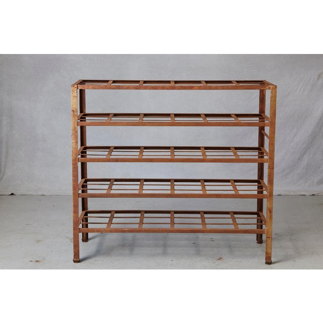 Stunning and rare, heavy and solid industrial 5 tier multi shelf with fixed grid shelves, nicely weathered, circa 1960s....
