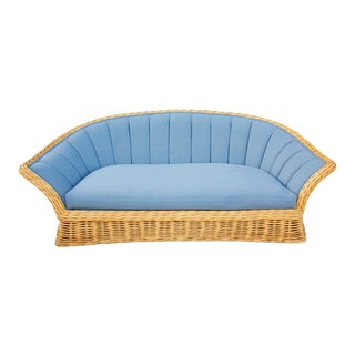Vintage 1970s Boho Chic Three-Seat Wicker and Denim Sofa