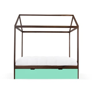 Domo Zen Twin Trundle Canopy Bed in Walnut With Mint Finish Preview