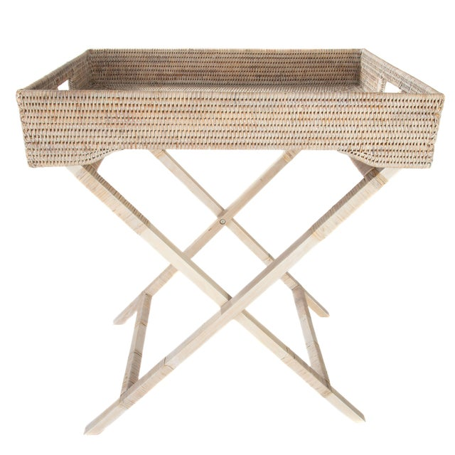 2010s Artifacts Rattan Butler Table For Sale - Image 5 of 6