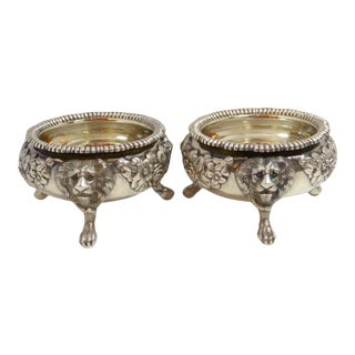 Antique 1810 English Sterling Silver Salts Cellars - A Pair For Sale