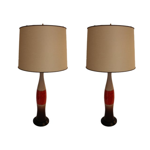 Mid-Century Modern Orange Ombré Cream & Brown Ceramic Lamps - a Pair For Sale