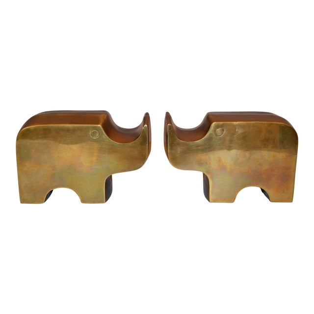 Mid-Century Modern Bronze Rhinoceros Bookends in the Manner of Fratelli Mannelli For Sale
