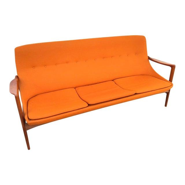 e631699ec7ef 1960s Vintage Folke Ohlsson Dux Mid-Century Modern Teak and Upholstered Sofa  For Sale