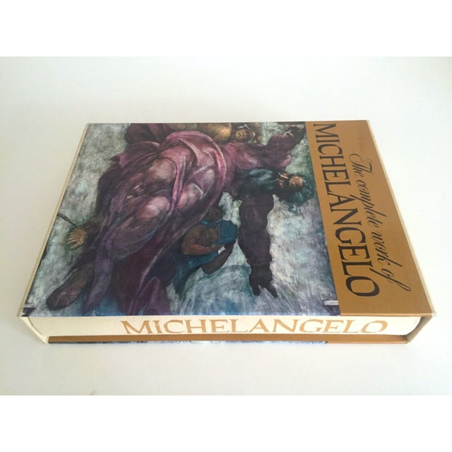 """Boho Chic """"The Complete Work of Michelangelo """" Slip Case Box Monumental Xtra Large Collector Vintage 1965 1st Edtn Book For Sale - Image 3 of 11"""