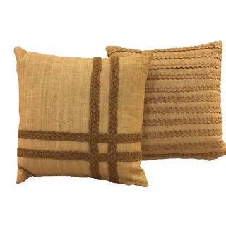 Vintage Raffia Pillows - A Pair For Sale