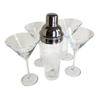 Spiral Etched Cocktail Shaker and 4 Hand Blown Martini Glasses-Set of 5 For Sale