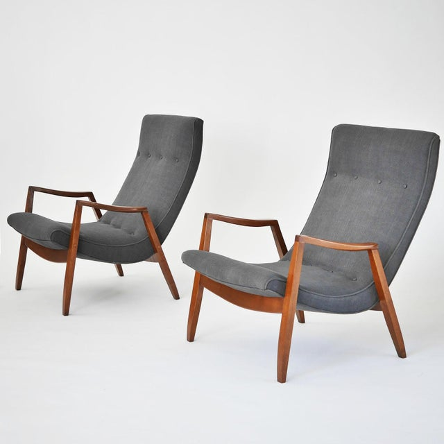 Milo Baughman Pair of Scoop Lounge Chairs - Image 2 of 7