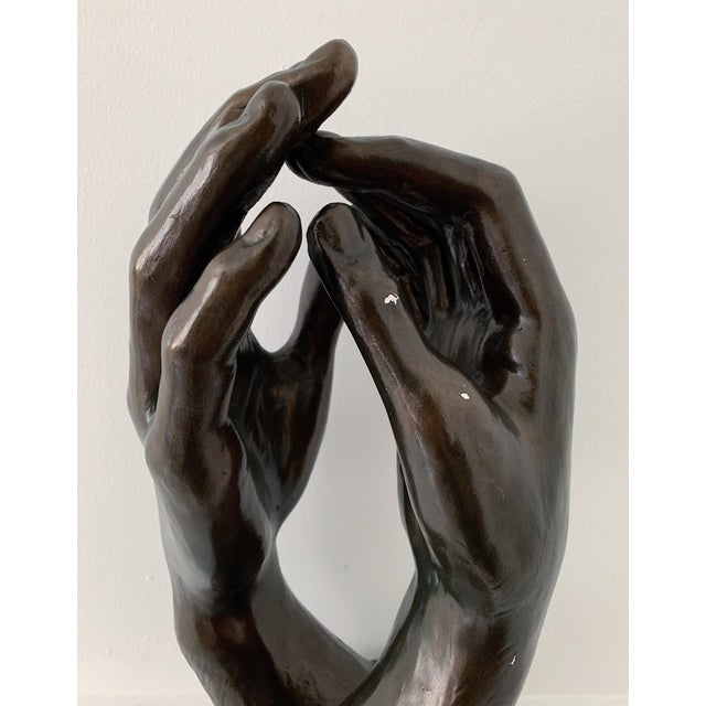 "1960s 1960s Vintage Austin Productions Rodin ""The Cathedral"" Hands Sculpture For Sale - Image 5 of 7"